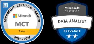 Badges de certification Formateur Microsoft et Power BI